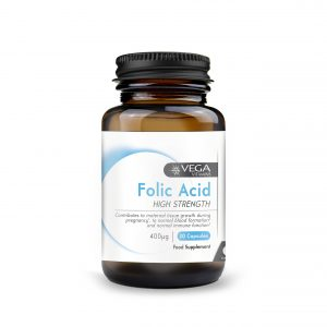 Folic Acid Vitamin B9 30 capsules bottle