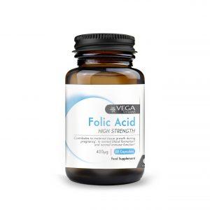 Folic Acid Vitamin B9 30 capsules bottle