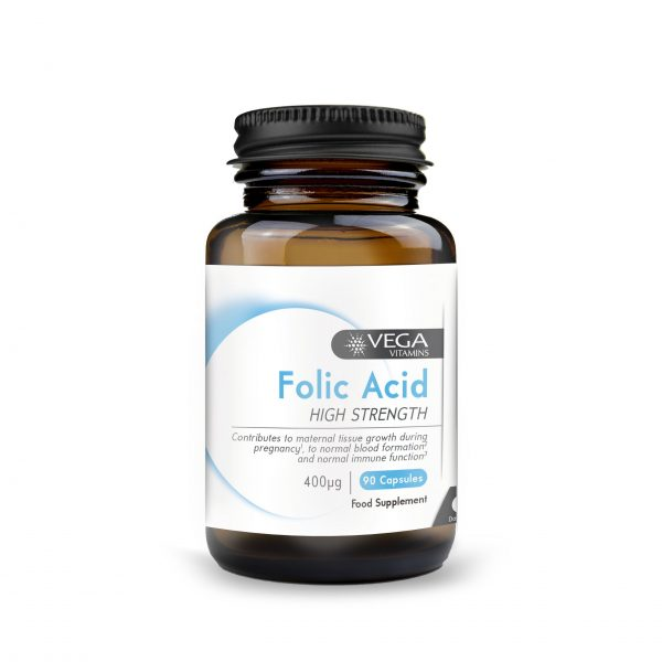 Folic Acid Vitamin B9 90 capsules bottle